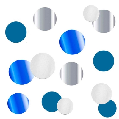 """Конфетти """"Круги Микс"""" Нежно-голубые фольгированные, бумажные"""