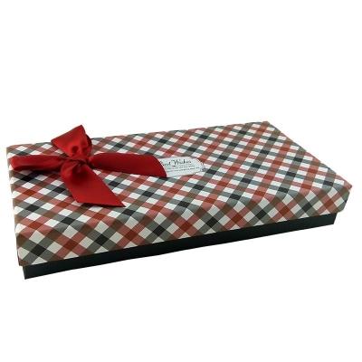 """Коробка подарочная """"Деловой"""" с бордовым бантом"""