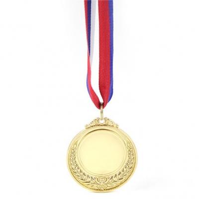 """Медаль призовая под нанесение 5 см """"1 место"""" Золотая"""