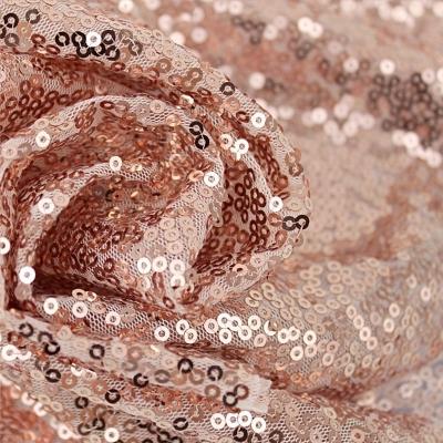 Ткань с пайетками Розовое золото 12 м, (ширина 130 см)