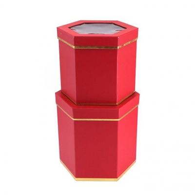 Лакшери. Шестиугольник. Красный Коробки с окном 2 в 1