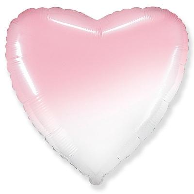 18 Сердце Бело-Розовый градиент