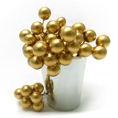Набор Ягодки искусственные Золотые 1см (6 скруток по 8 шт.) , 48 шт.