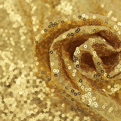 Ткань с пайетками, Золото 12 м (ширина 130 см)