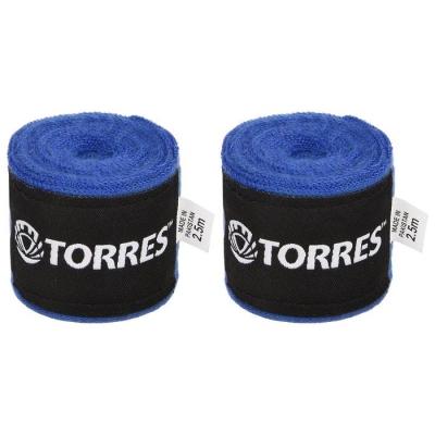 Бинт боксерский эластичный TORRES, длина 2,5 м, ширина 5 см, 1 пара, цвет синий