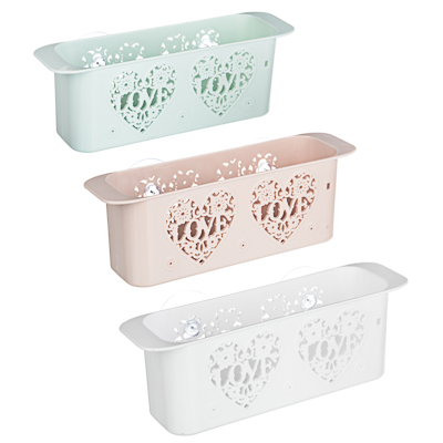 VETTA Романтика Полочка для ванной комнаты на присосках, пластик, 26х7х8,5см, 3 цвета