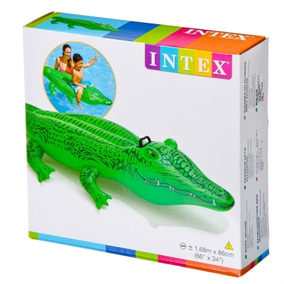 INTEX Игрушка надувная для плавания Крокодил 168x86см, рем комплект, от 3 лет 58546