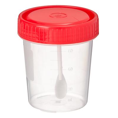 Контейнер для биоматериалов, с ложкой, стерильный, пластик, 60мл.