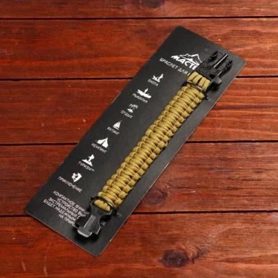 Браслет для выживания 3в1 (паракорд, свисток, огниво), многоцветный, 25.5 × 2.5 см , микс