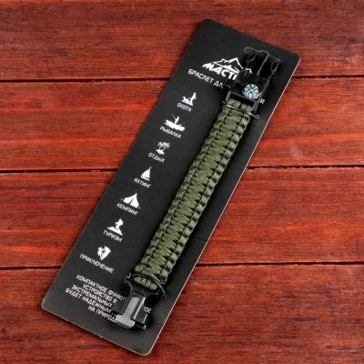 Браслет для выживания 4в1 (паракорд, компас, свисток, огниво), тёмно-зелёный, 25.5 × 2.5 см