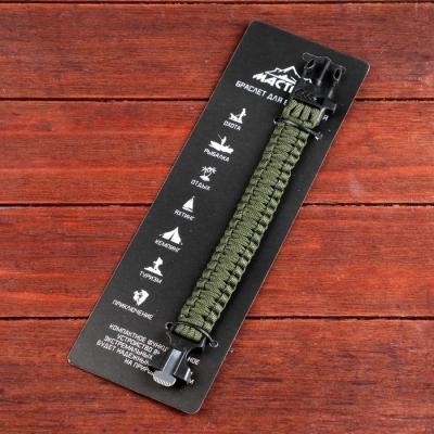 Браслет для выживания 3в1 (паракорд, свисток, огниво), тёмно-зелёный, 25.5 х 2.5 см