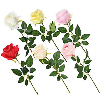 Цветок искусственный в виде ветки с розами, пластик, полиэстер, 64 см, 6 цветов