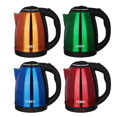 LEBEN Чайник электрический 1,8л, 1500Вт, нерж. сталь, 4 цвета