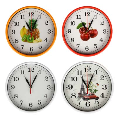 LADECOR CHRONO Часы настенные круглые, 20 см, пластик, стекло, 1хАА, 4 дизайна