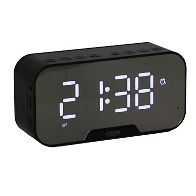 LADECOR CHRONO Часы зеркальные, будильник, термометр, радио,блютус спикер, USB, пластик,13,5х4,5х5см