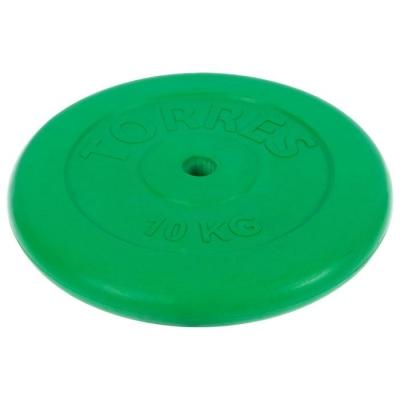Диск обрезиненный TORRES 10 кг, d=25мм, металл в резиновой оболочке, цвет зелёный