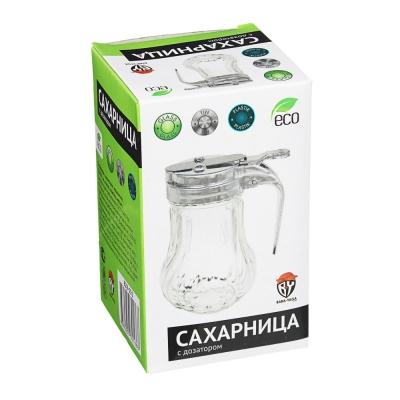 Сахарница с дозатором, кувшинчик, 11х9х7см, стекло, пластик, металл