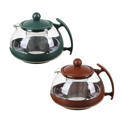 Чайник заварочный 750мл,овальный, ситечко из нержавеющей стали, стекло, пластик, 3 цвета