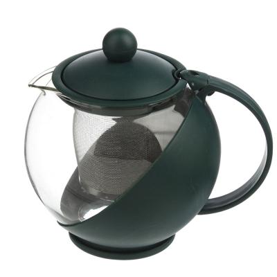 Чайник заварочный 750мл, ситечко из нержавеющей стали, стекло, пластик, 3 цвета