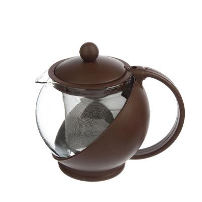 Чайник заварочный 500 мл, ситечко из нержавеющей стали, стекло, пластик, 3 цвета