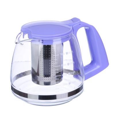 VETTA Чайник заварочный 750мл, ситечко из нержавеющей стали, стекло, пластик 4 цвета