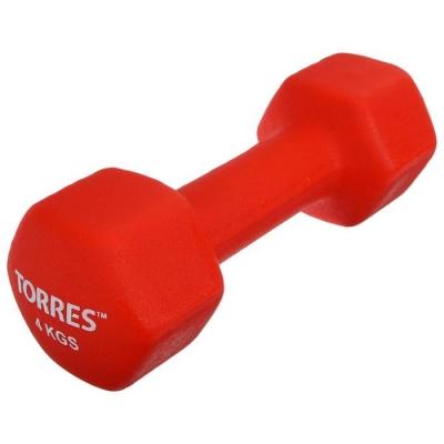 Гантель TORRES 4 кг, металл в неопреновой оболочке, форма шестигранник, цвет красный