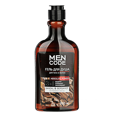 Гель для душа мужской MEN CODE Absolute power с экстрактами сандала и бергамота флакон/флиптоп 300мл