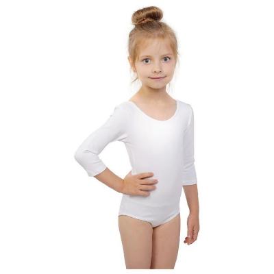 Купальник гимнастический, рукав 3/4, размер 30, цвет белый