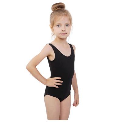 Купальник гимнастический на широких бретелях, размер 38, цвет чёрный
