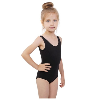 Купальник гимнастический на широких бретелях, размер 32, цвет чёрный
