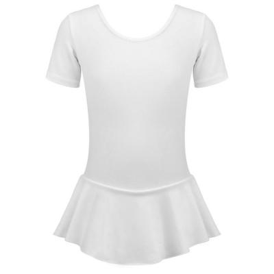 Купальник гимнастический х/б с юбкой, короткий рукав, цвет белый,