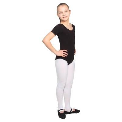 Купальник гимнастический, с коротким рукавом,, цвет чёрный