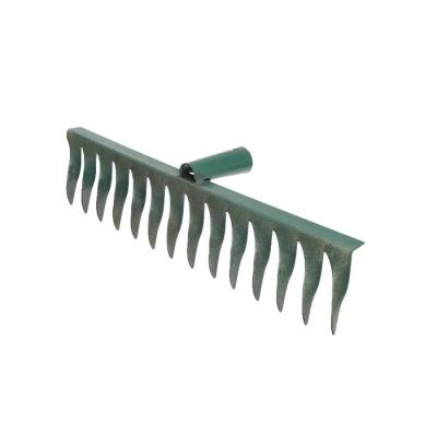 Грабли прямые, повёрнутый зубец, 14 зубцов, металл, тулейка 28 мм, без черенка