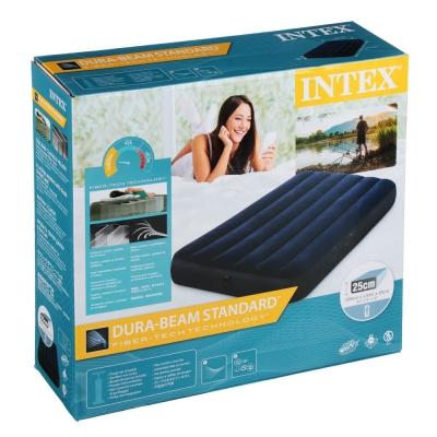 INTEX Кровать надувная Classic downy (Fiber tech) Твин, 99см x 1,91м x 25см, 64757