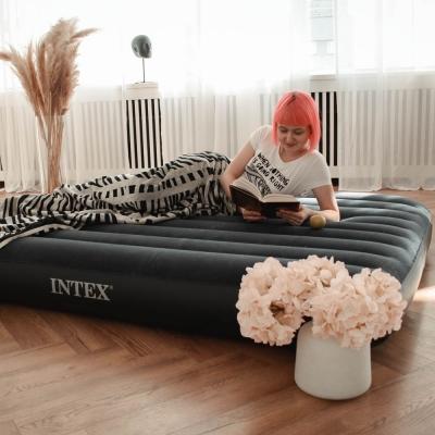 INTEX Кровать надувная Classic downy (Fiber tech) Квин, 1,52м x 2,03м x 25см, 64759
