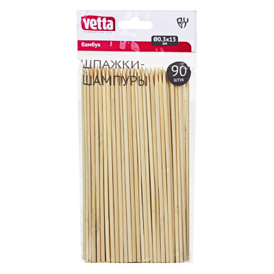 VETTA Шпажки-шампуры 90шт, бамбук, 15см, d 3мм