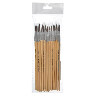 Кисть художественная №5, наконечник из волоса Белки, деревянная ручка, метал.оплетка, инд.маркировка