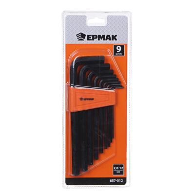 ЕРМАК Набор ключей - шестигранников 2,0-12мм, удл.,9шт. (012)