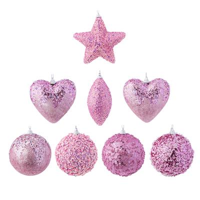 СНОУ БУМ Подвеска украшение фигурное с обсыпным декором, 8см, пластик, розовый, 8 дизайнов