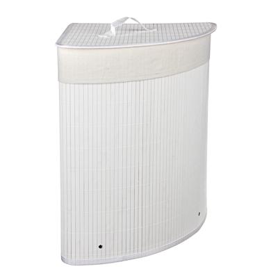 VETTA Корзина для белья складная с крышкой, угловая, бамбук, 35x35х50см, белая