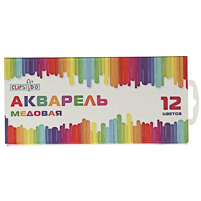 ClipStudio Краски акварельные медовые 12 цветов без кисточки в картонной упаковке