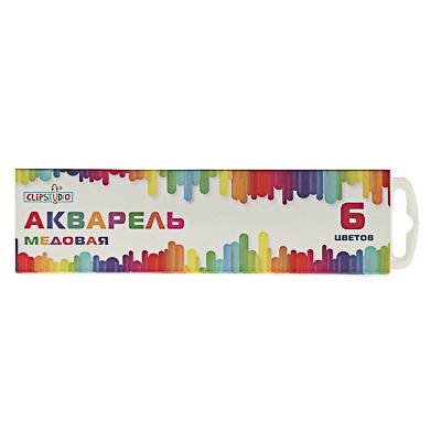 Краски акварельные, 6 цветов, без кисточки, в картонной упаковке, Акп-001/Акпф-001