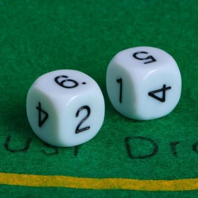 Кубики игральные 1.6 × 1.6 см, набор 2 шт., пластик, стороны: 1-2-3-4-5-6