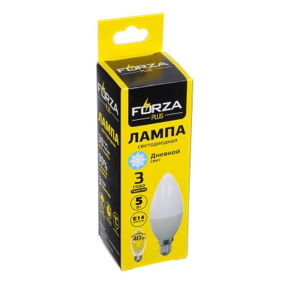 FORZA Лампа светодиодная свеча С37 5W, E14, 420lm 4000К