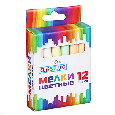 ClipStudio Мелки школьные цветные 12 штук, в картонной коробке с подвесом