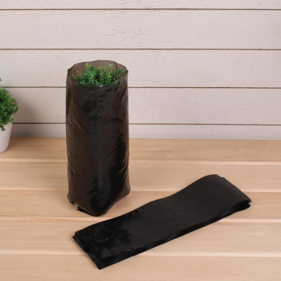 Пакет для рассады, 1.6 л, 8 × 30 см, толщина 50 мкм, с перфорацией, чёрный
