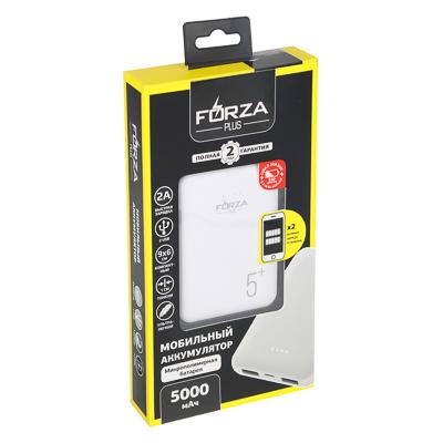 FORZA Аккумулятор мобильный, 5000мАч, 2 USB, 2A, 2 дизайна