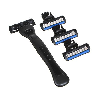 Станок для бритья с тройным лезвием, плавающая головка + 3 сменные кассеты, силикон, пластик