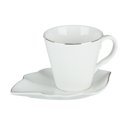 MILLIMI Лист вайт Набор чайный 12пр., 220мл, 16x11,5см, костяной фарфор