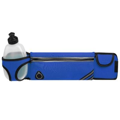 Сумка спортивная на пояс 45х9 см с бутылкой 15х8х3 см, 2 кармана, цвета синий